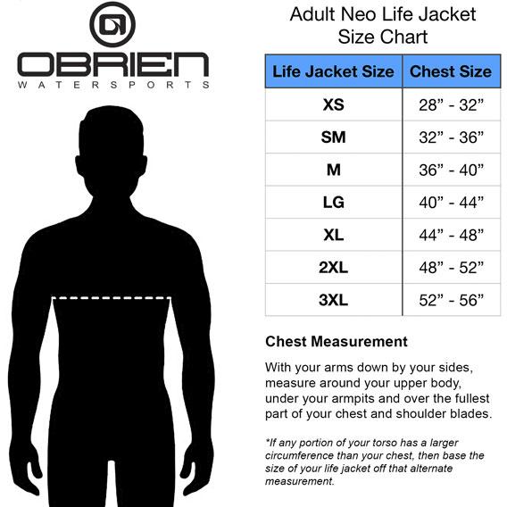 O'Brien men vest sizing chart