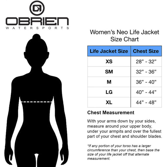 O'Brien women vest sizing chart